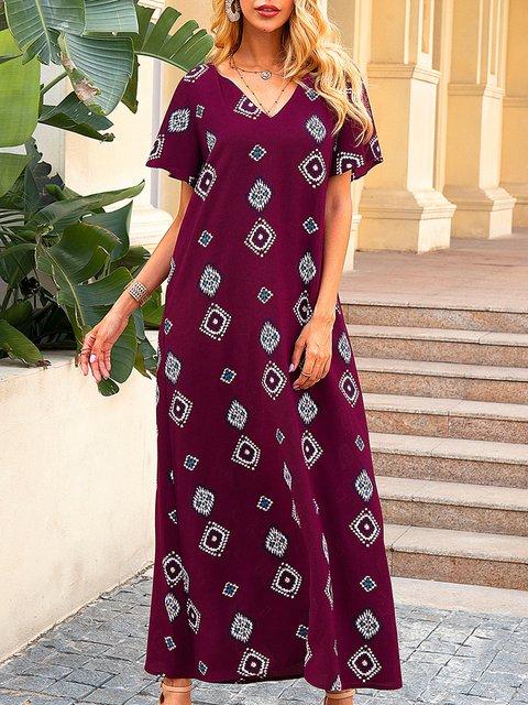 Wine Red Casual Short Sleeve Geometric Paneled Dresses