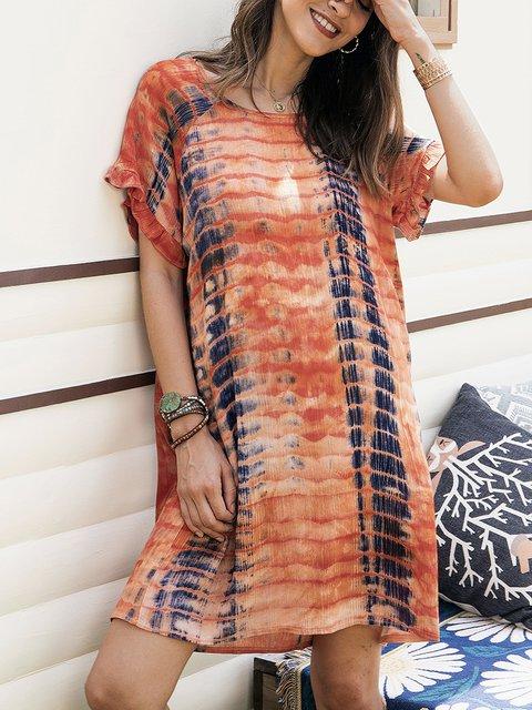 Orange Cotton-Blend Short Sleeve Crew Neck Dresses
