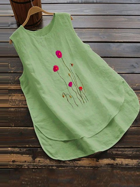 Lightgreen Floral-Print Sleeveless Floral Shirts & Tops