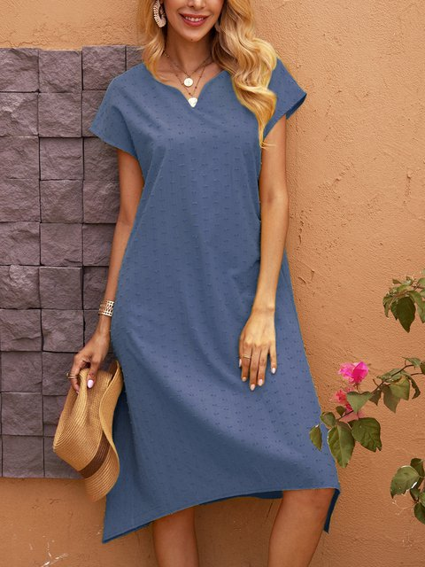 Blue Short Sleeve A-Line Dresses