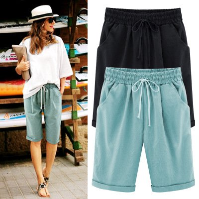 Women Pockets Cotton-Blend Casual Pants With Shorts Pants