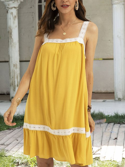 Yellow Crew Neck Sleeveless Swing Paneled Dresses