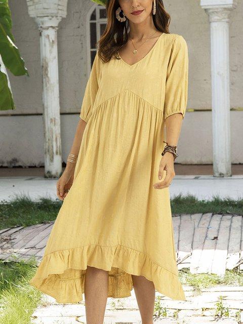 Yellow Boho Gathered Half Sleeve Plain Dresses