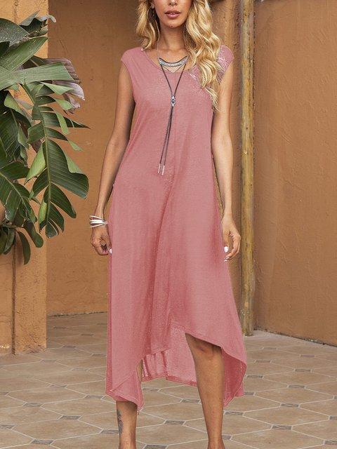 Pink Crew Neck Cotton-Blend Sleeveless Plain Dresses