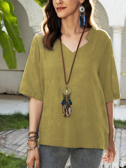 Yellow Paneled Half Sleeve Casual V Neck Shirts & Tops