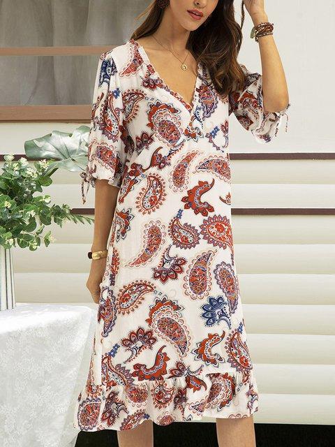 White Floral-Print Boho Cotton-Blend A-Line Dresses
