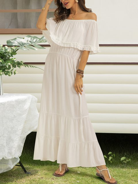 White Swing Paneled Short Sleeve Dresses