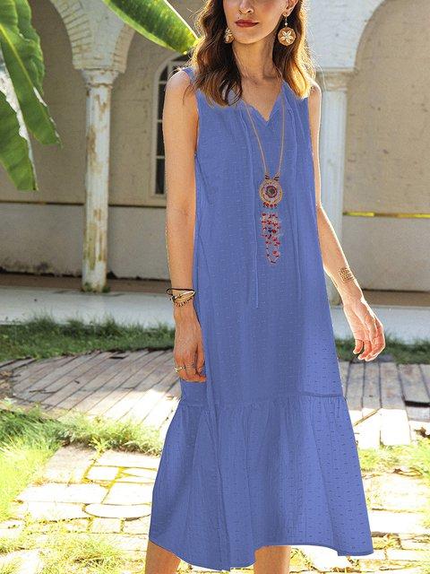Blue A-Line Boho Crew Neck Dresses