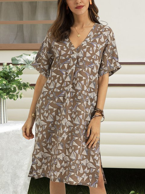 Coffee Half Sleeve Cotton-Blend Dresses