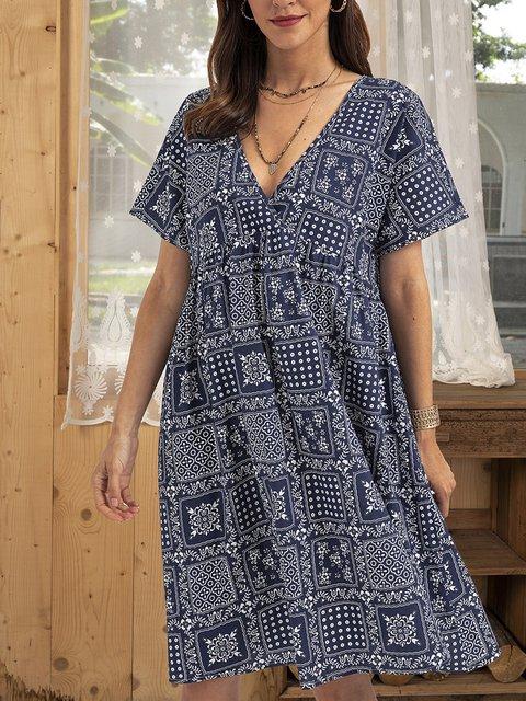 Blue Casual Cotton-Blend V Neck Floral Dresses