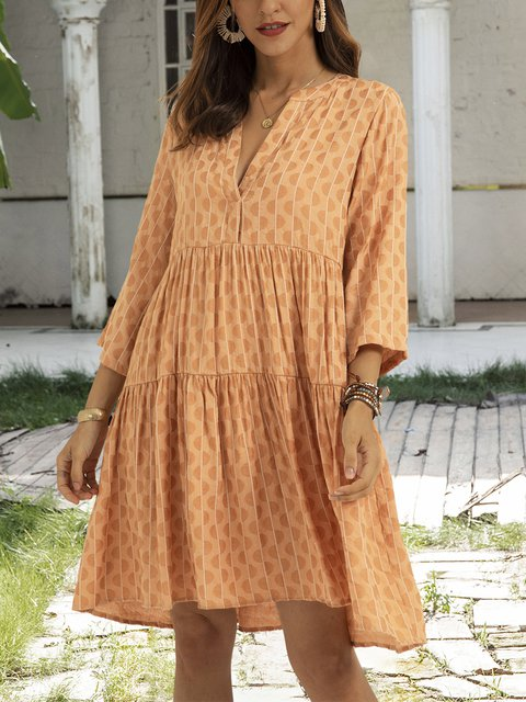 Coffee 3/4 Sleeve Cotton-Blend Swing Paneled Dresses