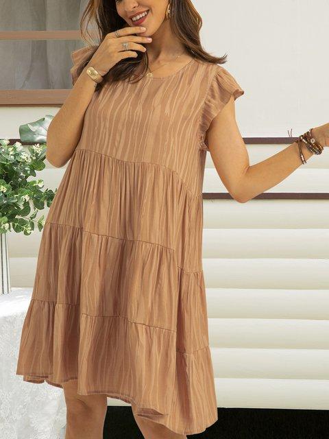 Coffee Short Sleeve Swing Dresses