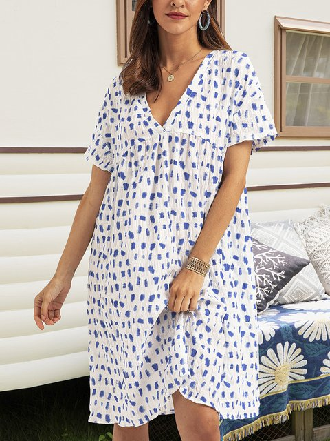 Blue V Neck Short Sleeve Swing Dresses