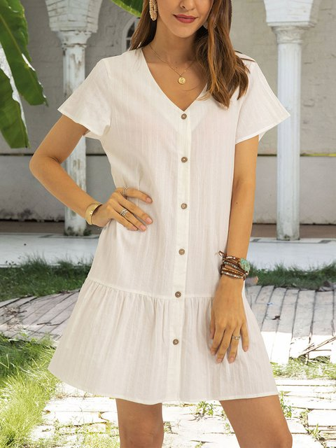 White Plain A-Line Cotton-Blend Boho Dresses