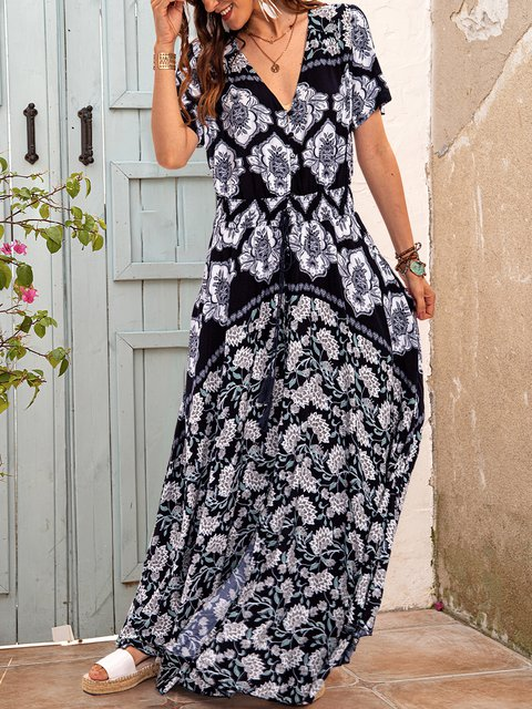 Black Cotton-Blend Short Sleeve Casual Dresses