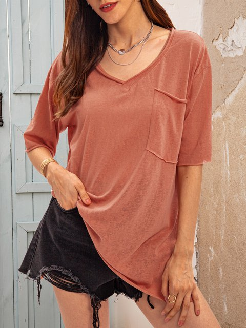 Orange Short Sleeve Crew Neck Shirts & Tops