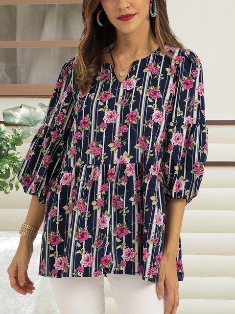 Purplish Blue Floral 3/4 Sleeve Floral-Print Shirts & Tops