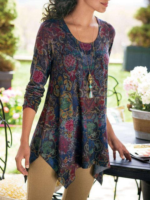 Multicolor Long Sleeve Printed Casual Shirts & Tops