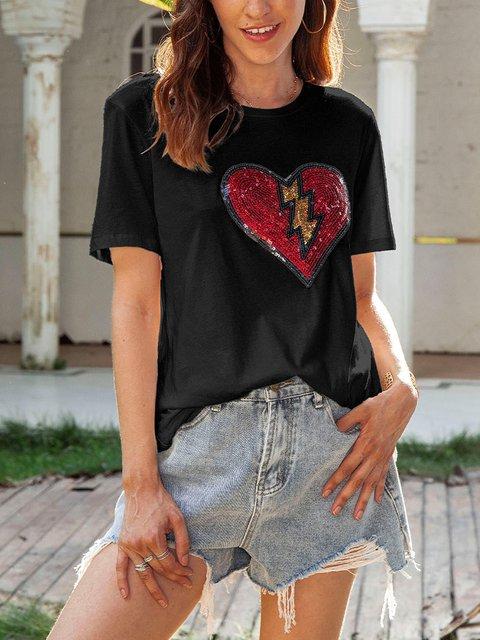 Black Cotton-Blend Short Sleeve Letter V Neck Shirts & Tops