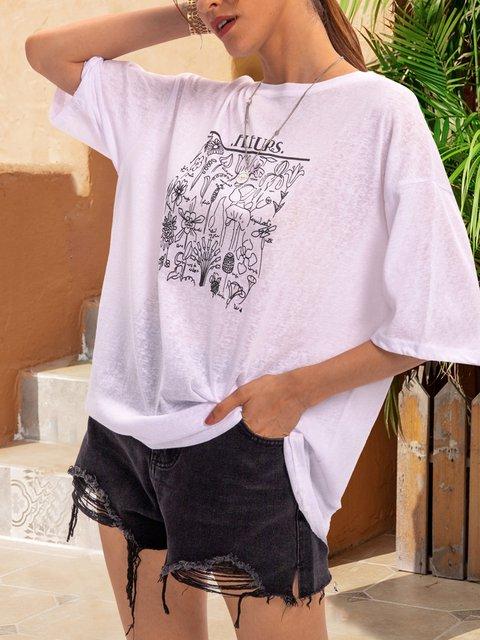 White Letter Short Sleeve Shirts & Tops