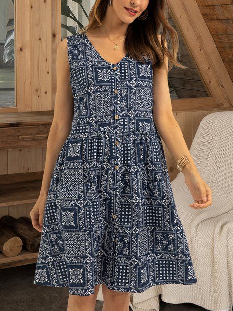 Blue Casual Swing Paneled Dresses