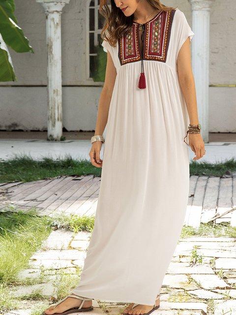 White Crew Neck Paneled Short Sleeve Dresses