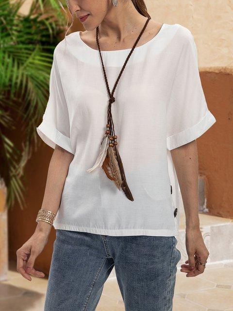 White Paneled Crew Neck Cotton-Blend Short Sleeve Shirts & Tops