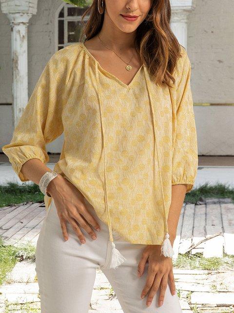Yellow Paneled 3/4 Sleeve V Neck Shirts & Tops