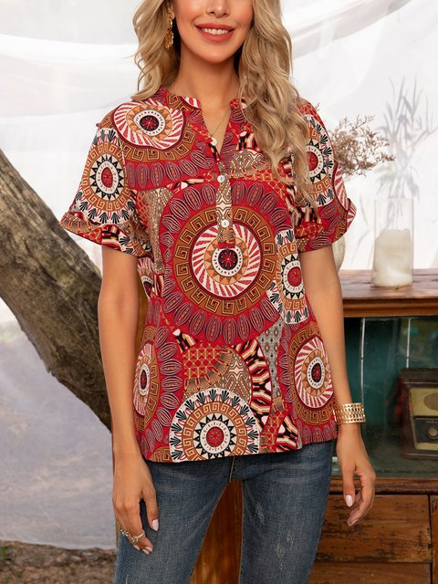 Red Floral-Print Holiday V Neck Floral Shirts & Tops