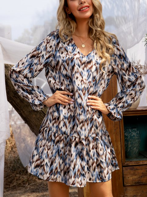 Blue Casual A-Line Cotton-Blend Long Sleeve Dresses
