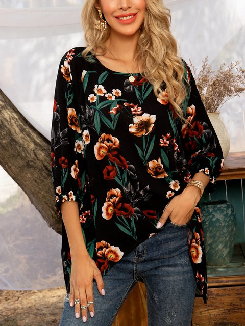 Black Floral Long Sleeve Printed Shirts & Tops