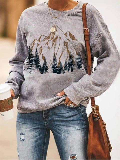 Gray Long Sleeve Abstract Sweatshirt