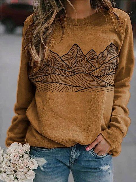 Brown Long Sleeve Abstract Shift Sweatshirt