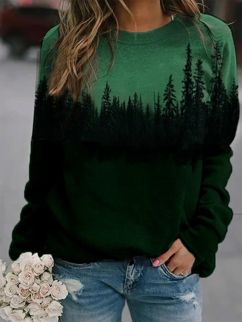 Green Shift Long Sleeve Sweatshirt