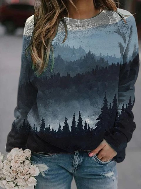 Grey-Blue Casual Ombre/tie-Dye Sweatshirt