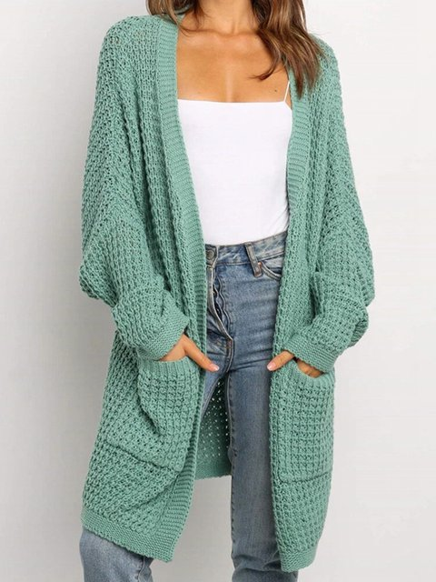 Casual Solid Color Long Sleeve Losse Knitted Cardigan Coat