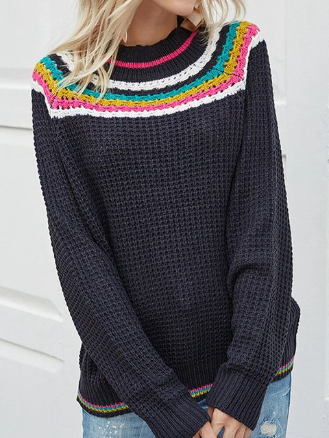 Striped Knited Long Sleeve  O-neck Casual Sweater