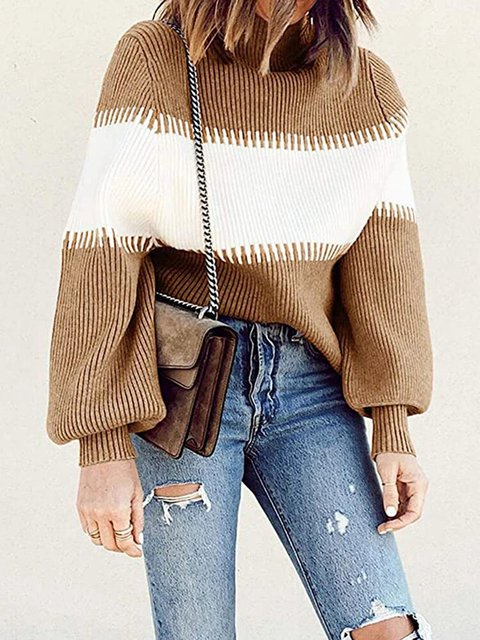Contrast Color Lantern Sleeve Casual O-neck Sweater