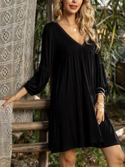 Black Cotton-Blend Plain 3/4 Sleeve Dresses