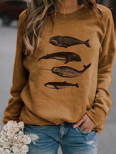 Khaki Printed Crew Neck Long Sleeve Sweatshirt