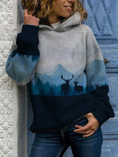 Light Gray Long Sleeve Printed Animal Hoodies