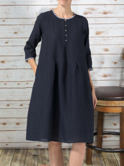 Navy Blue Casual Cotton-Blend Solid Dresses