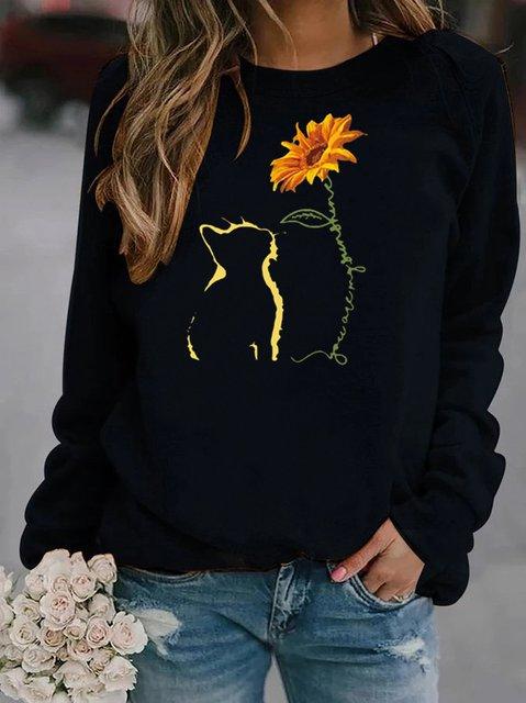 Casual Cotton-Blend Printed Long Sleeve Sweatshirt