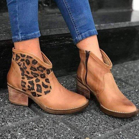 All Season Block Heel Split Joint Boots