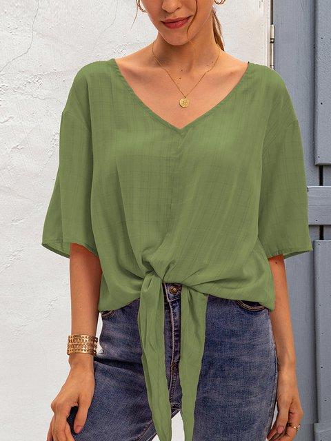 Green Holiday Plain V Neck Shirts & Tops