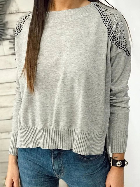 O-neck Beading Asymmetrical Split Solid Color Long Sleeve Sweater