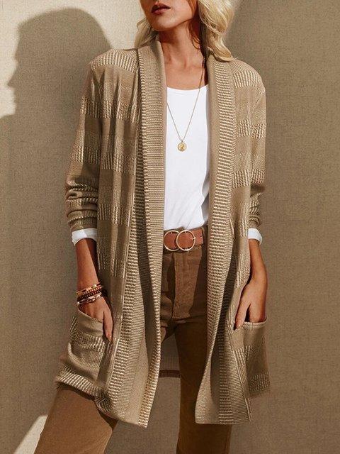 Striped Jaquard Long Sleeve Pocket Casual Cardigan