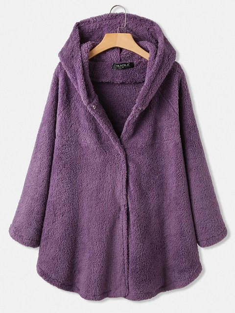 Casual Solid Color Hooded Button Fly Fluffy Thicken Coat