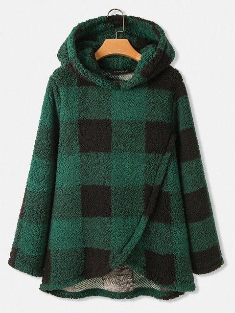 Plaid Print Hooded Irregular Hem Fluffy Thicken Coat