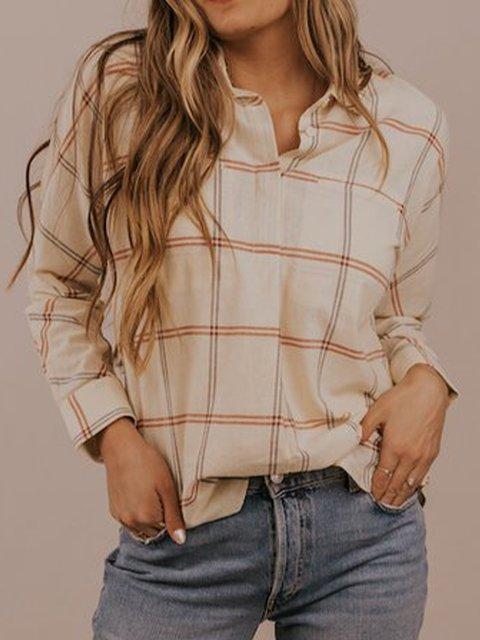 Long-sleeved casual shirt and top plaid shirt